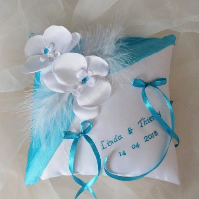 "Coussin ""ORCHIDEE"" turquoise"